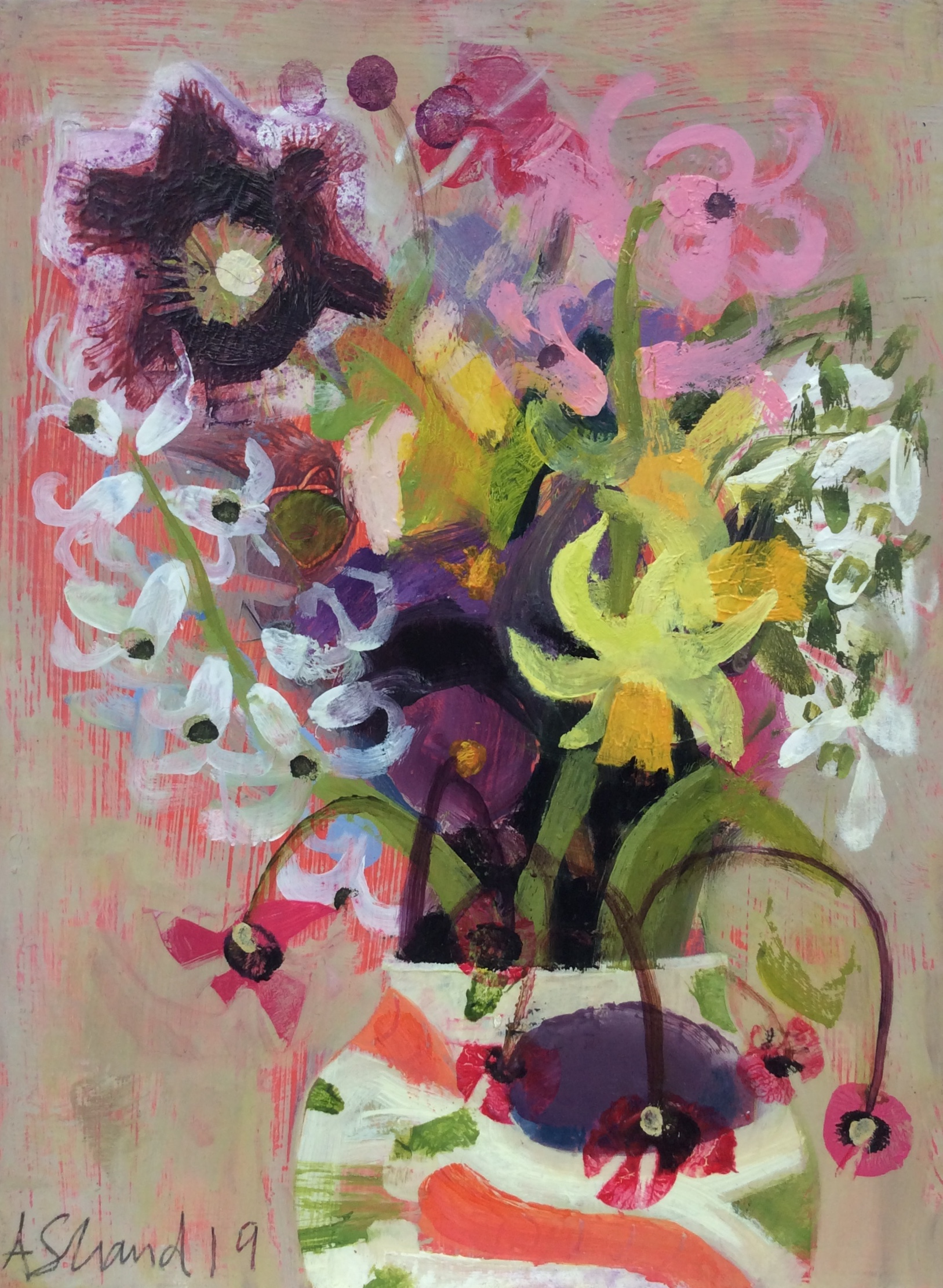 Spring Flowers, Lucy's Jug  Oil on board  24 x 27 cm  £295