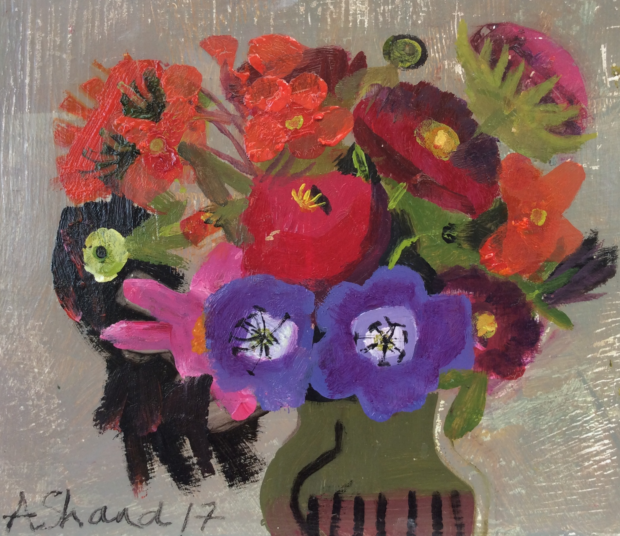 Late Summer Posy  Oil on board with Dutch metal  24x27cm  £295