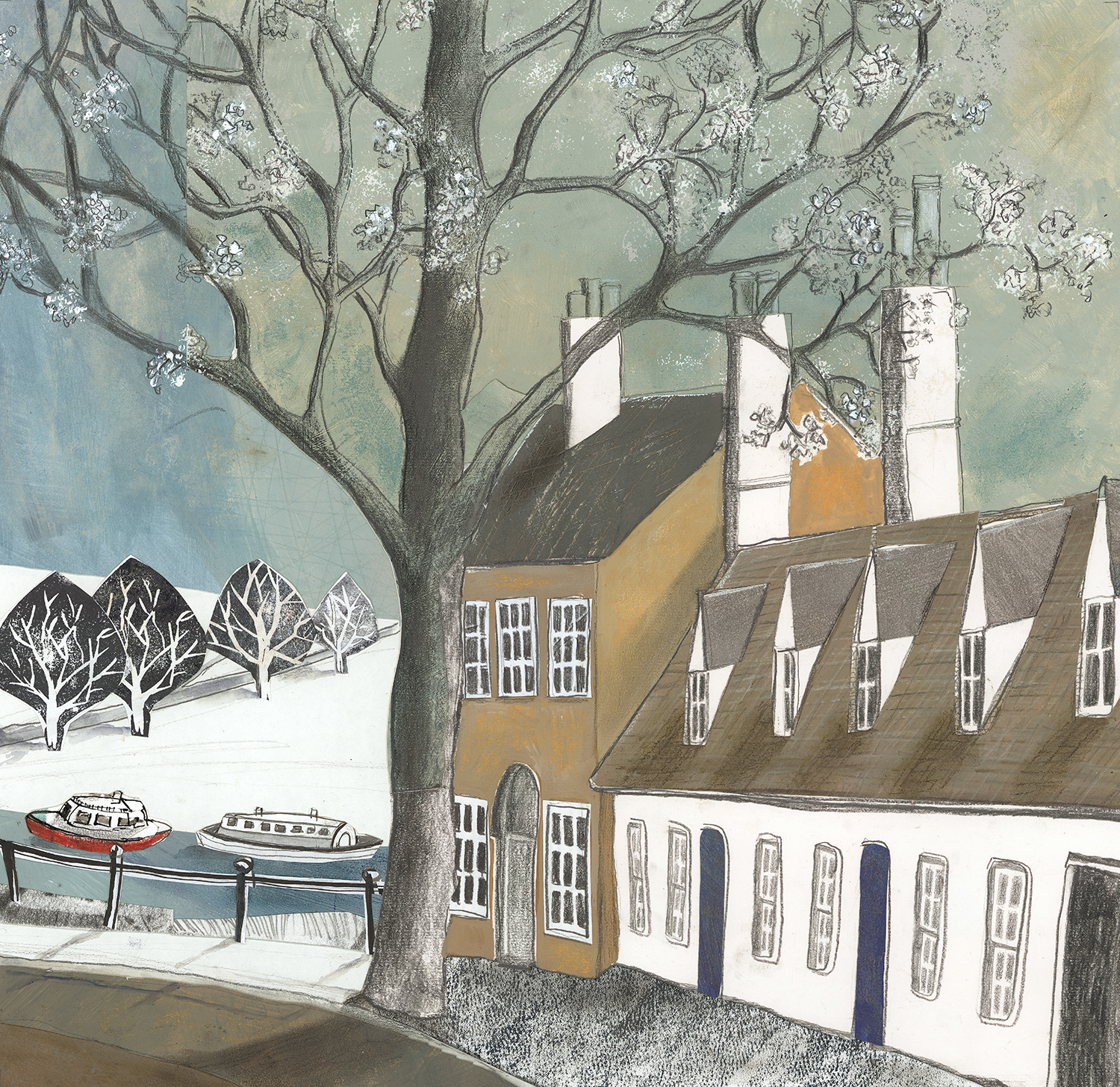 Chesterton Lane with Houseboats  62 x 63cm  mixed media  sold