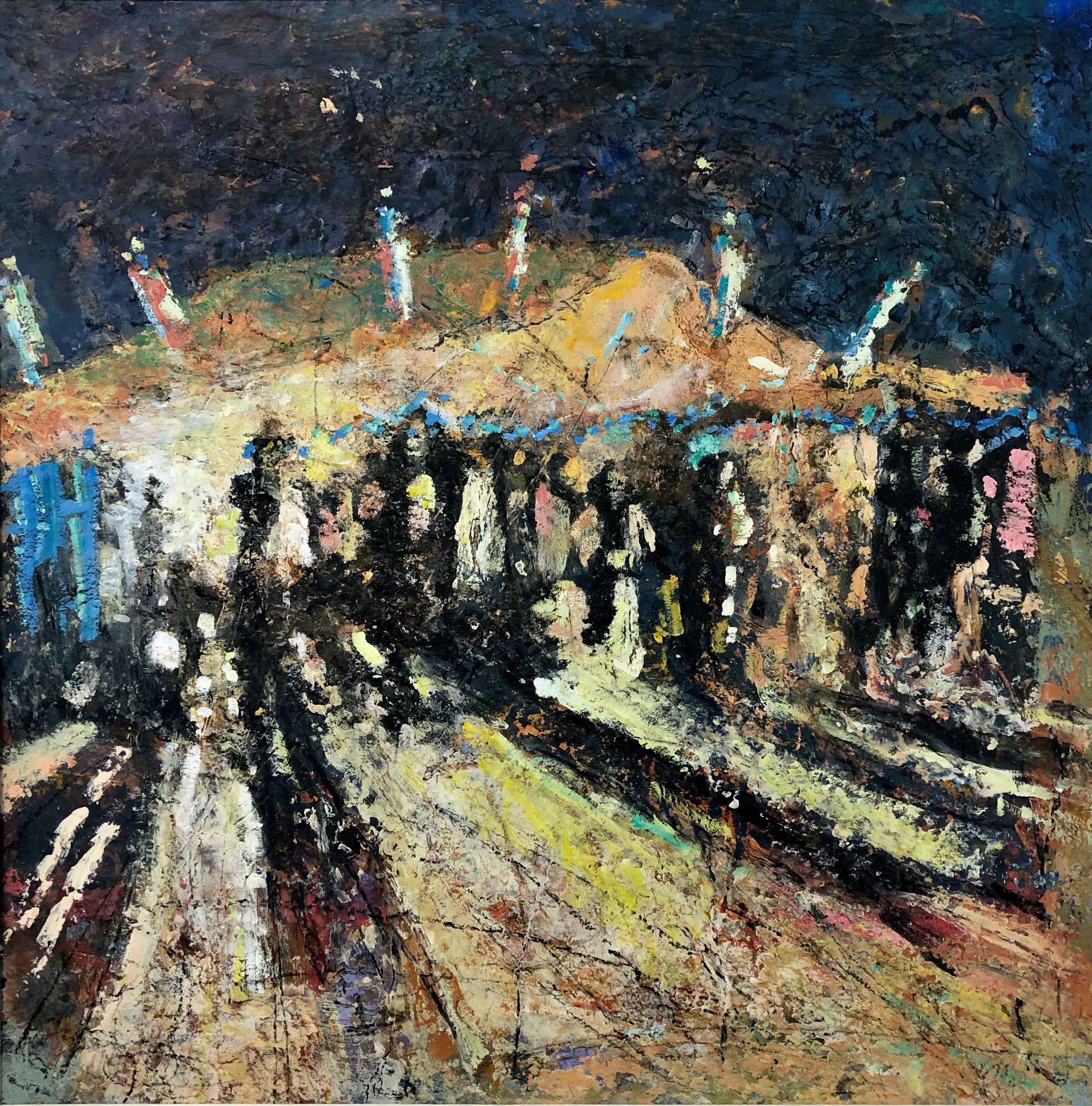 The Drinks Tent  oil based mixed media  77x77cm  £1750