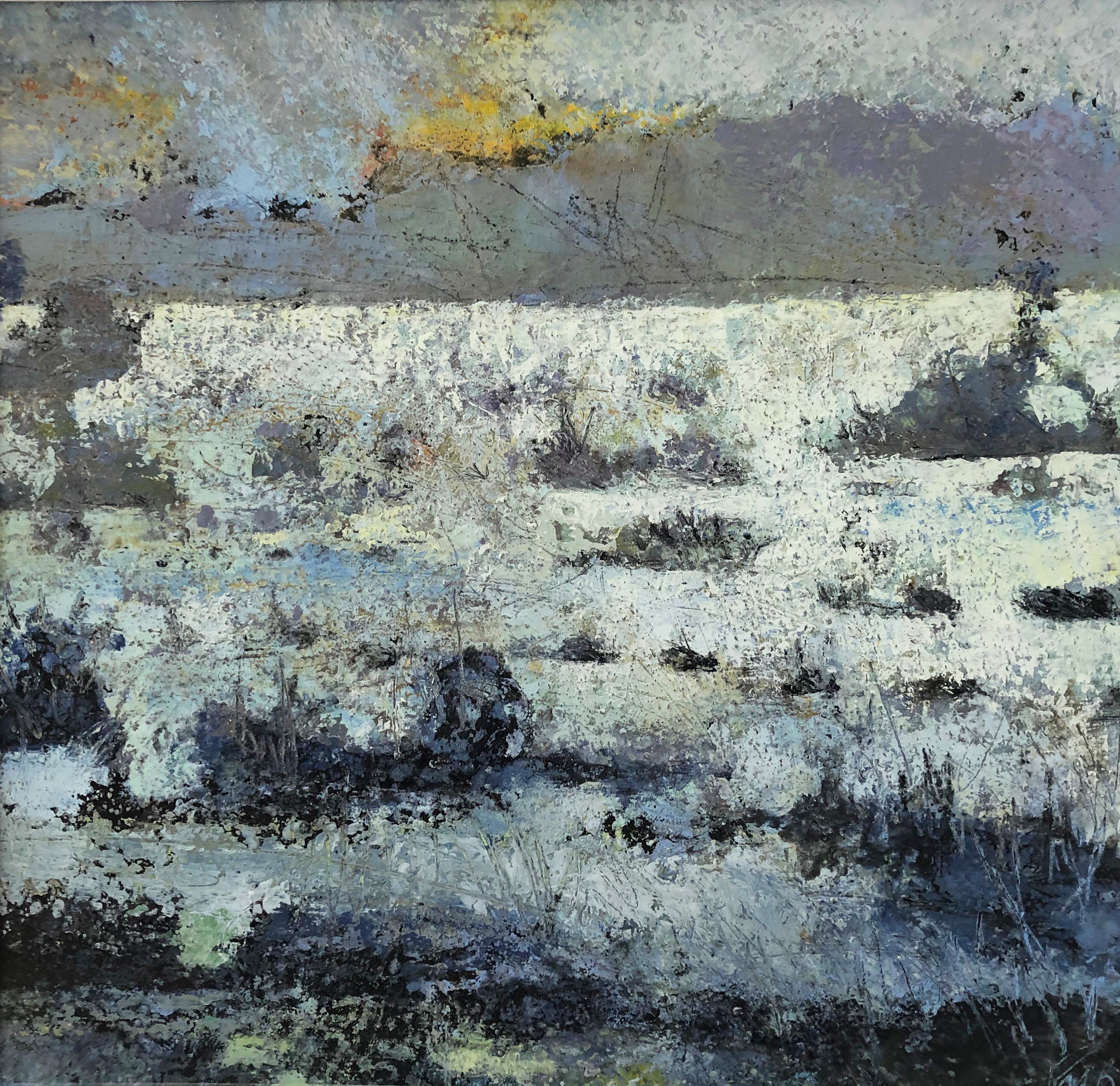 The Levels in Flood Evening Light  oil based mixed media  63x63cm  £825