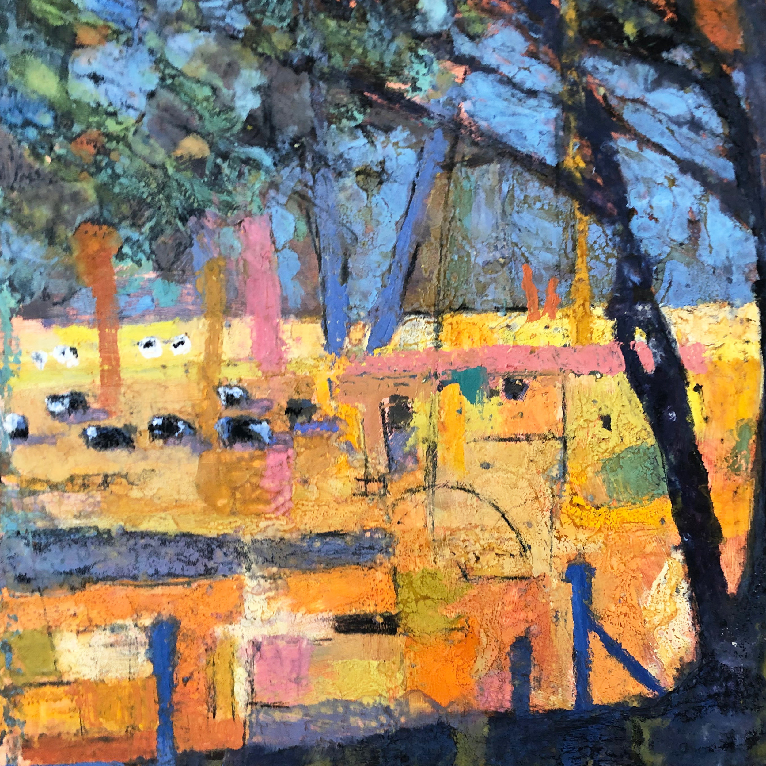Yellow Summer with Cows 66x66cm £725 oil based mixed media on wood.jpg