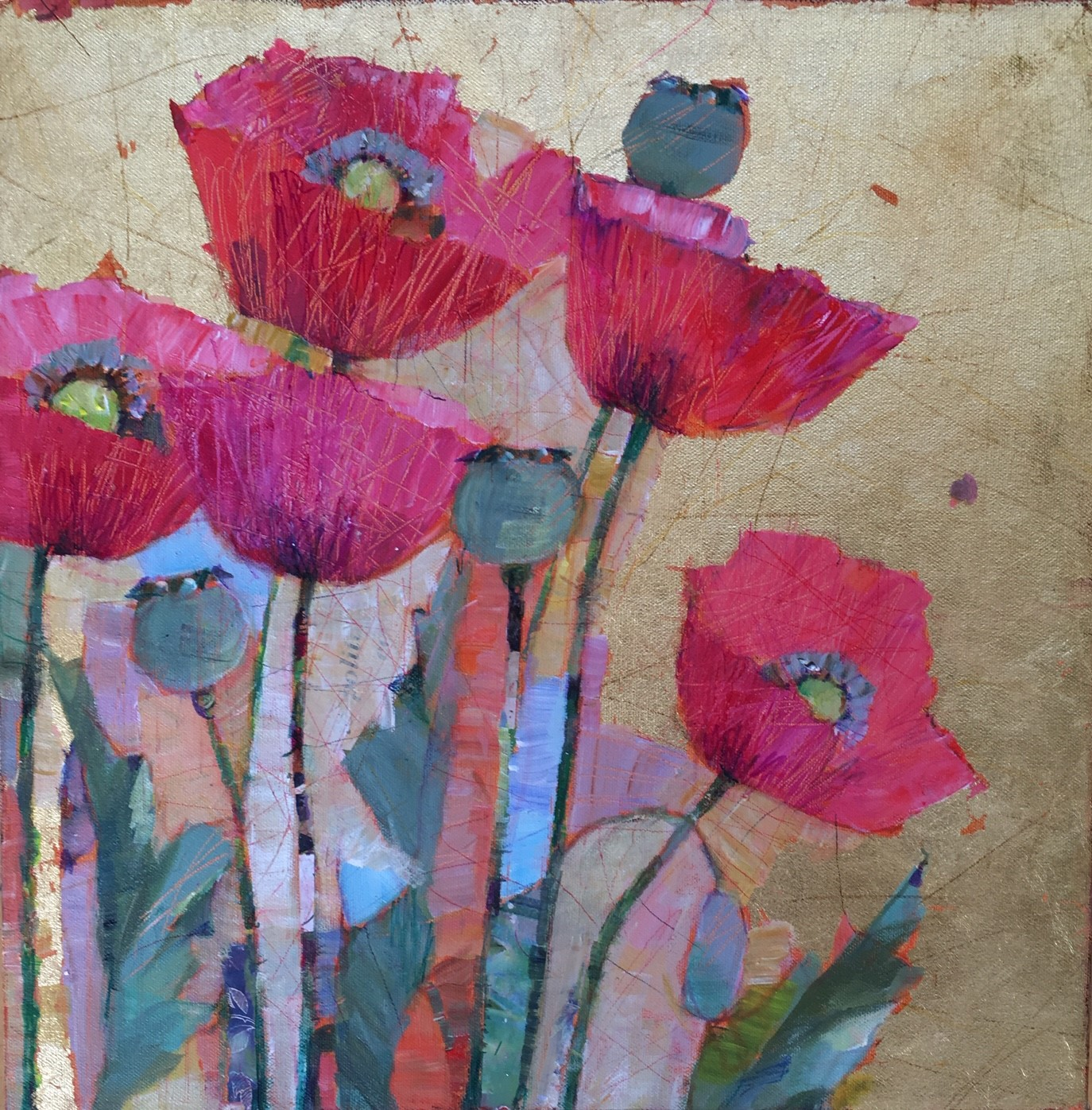 Poppies in the Sun  40cm x 40cm  Sold