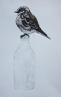 Sparrow   collagraph   10cm x 20cm  £196