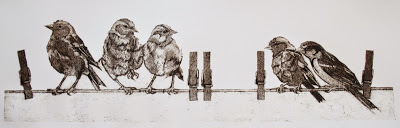 The Gangs all here   collagraph   40 x 80cm  £327 (framed)