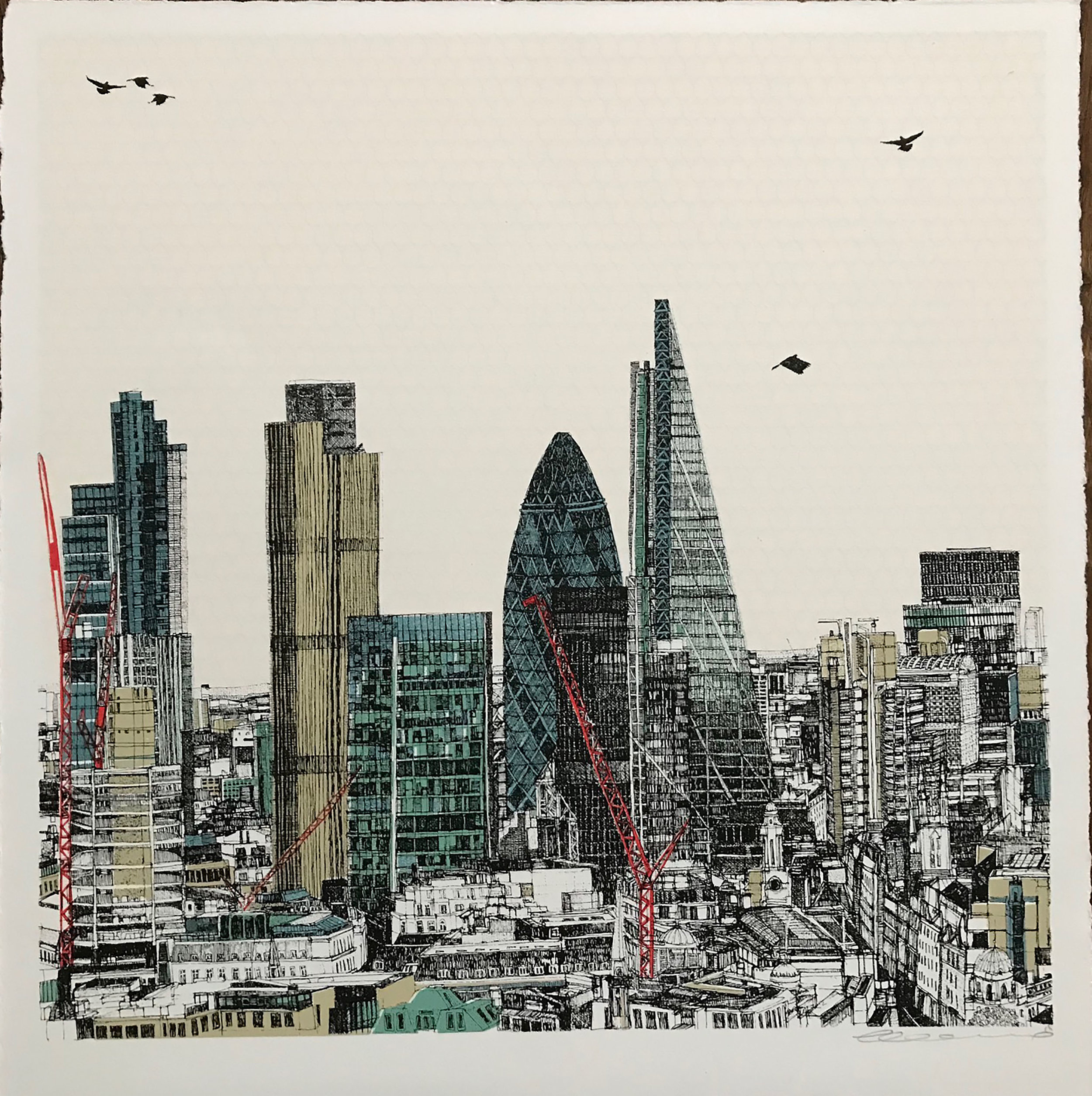 Sunrise Sunset London, 6 colour screen print, image size 35x35cm, paper size 37x38cm, edition of 75, unframed retail price £250 .jpg
