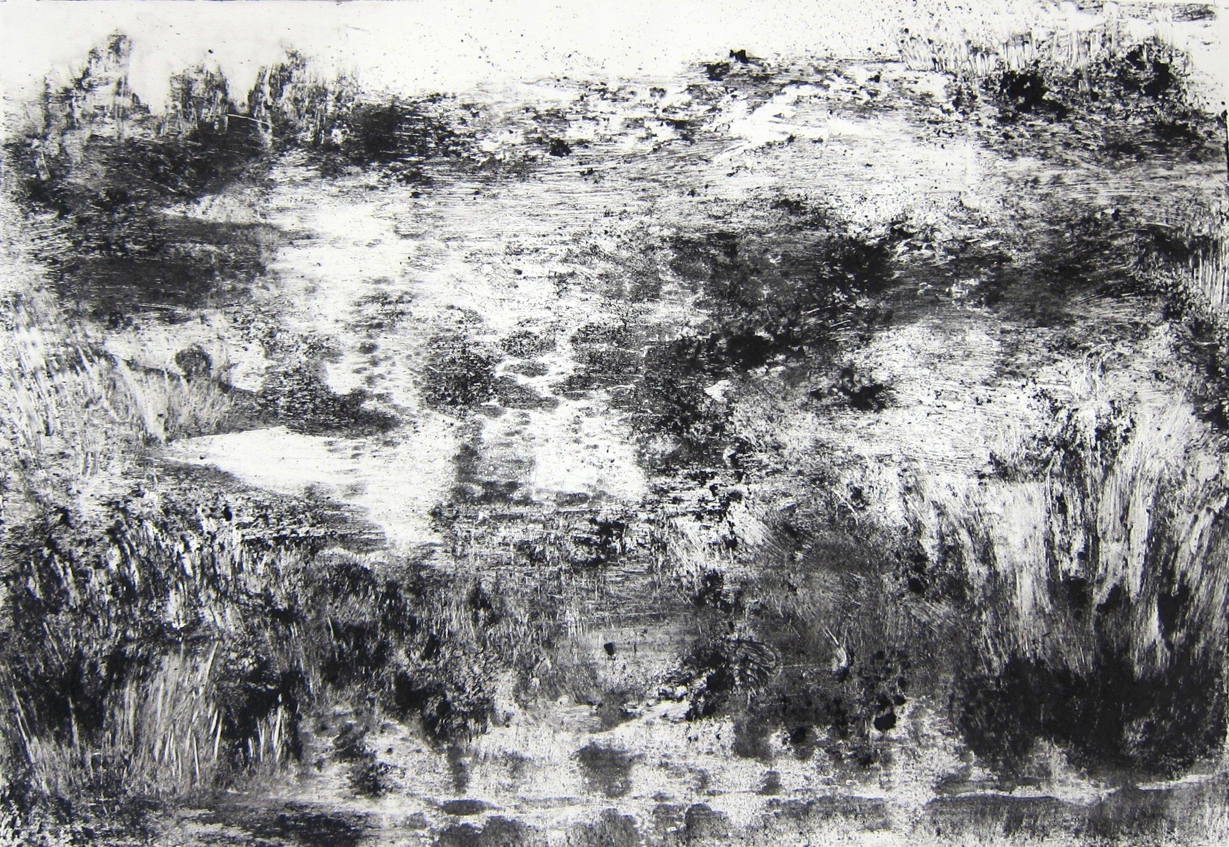 Dunes II  charcoal and cold wax on terraskin  40 x 32 cm  £295