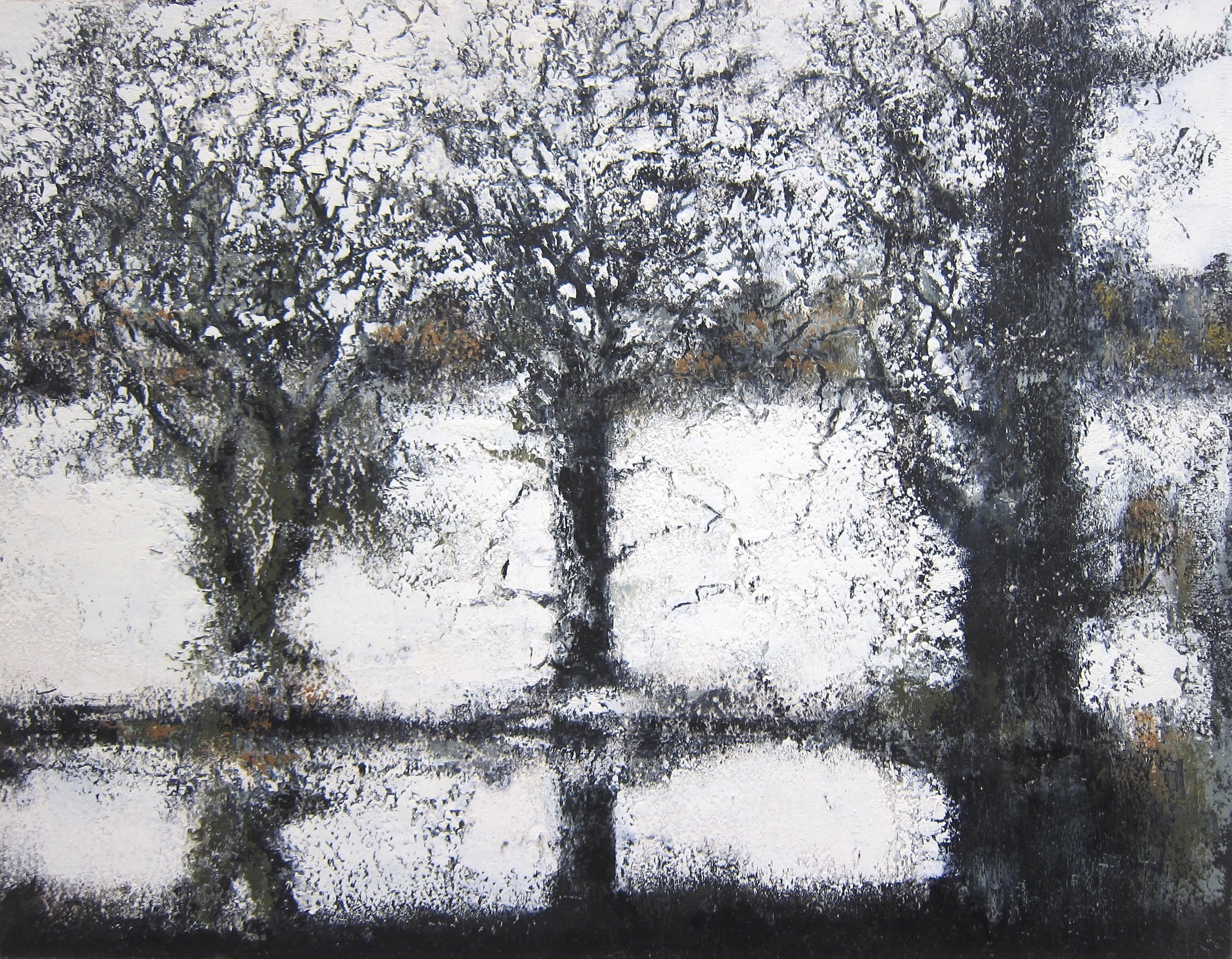 White Drift  oil and cold wax on panel  48 x 46 cm  £425