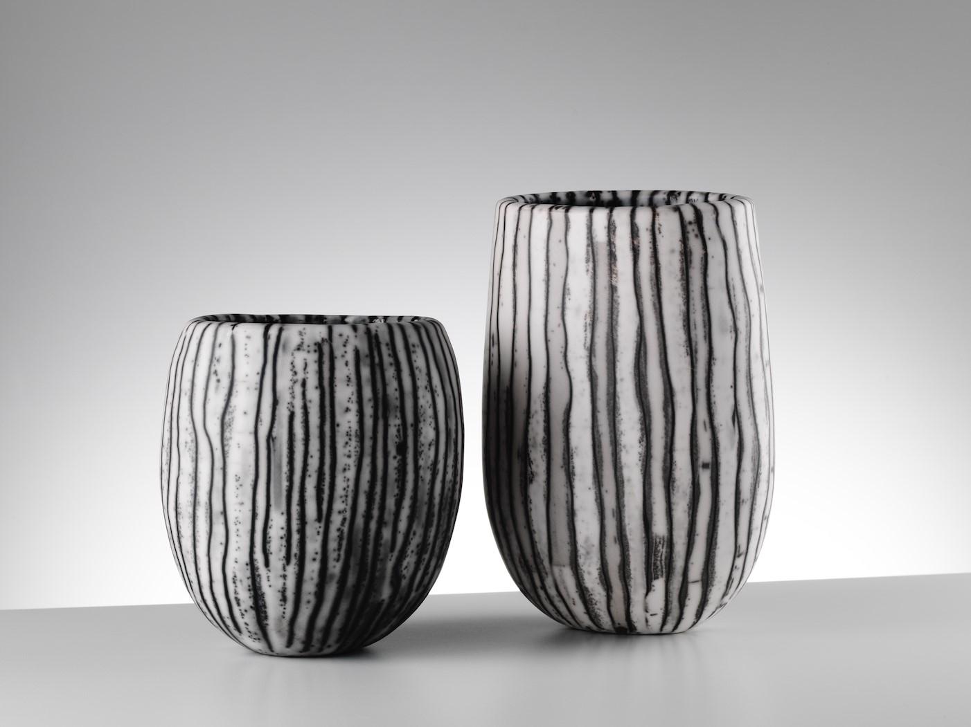 Vertical Stripe Vessels Medium Small & Small  17 cm H x 13 cm W / 23 cm H x 14 cm W  £195 and £295