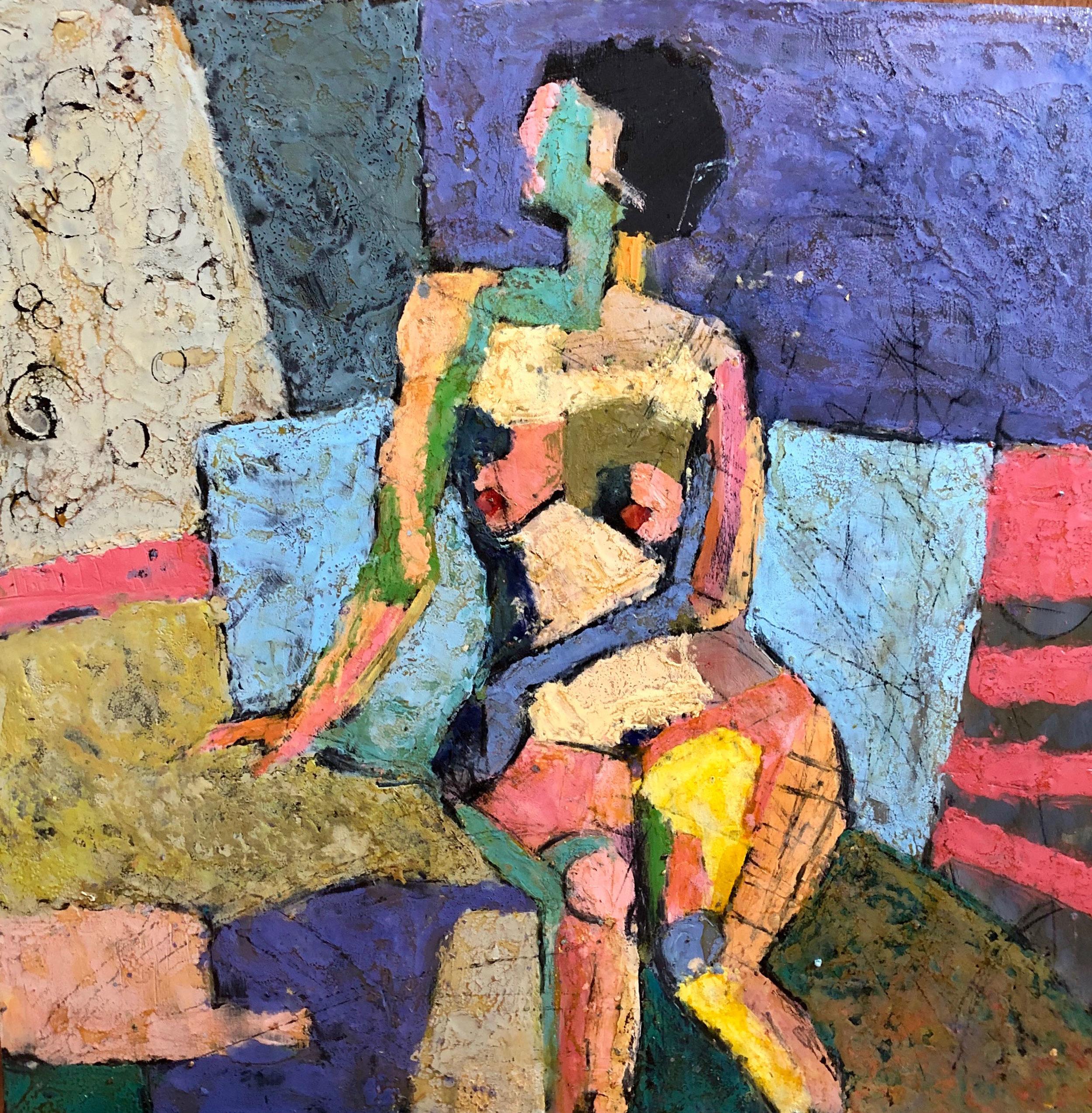 Seated Nude  Oil based media  70 x 69cm  £920