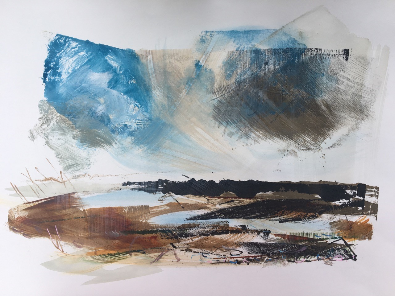 Blue Clouds, Blue Pools,   Monotype with mixed media on paper   70 x 50 cms   £220 unframed
