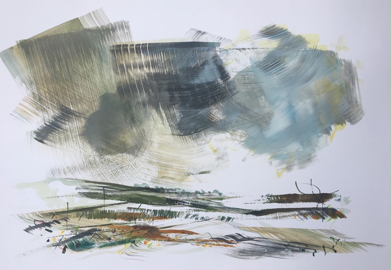 The Vineyard in Winter  Monotype with Mixed Media  70 x 50 cms   £220 unframed