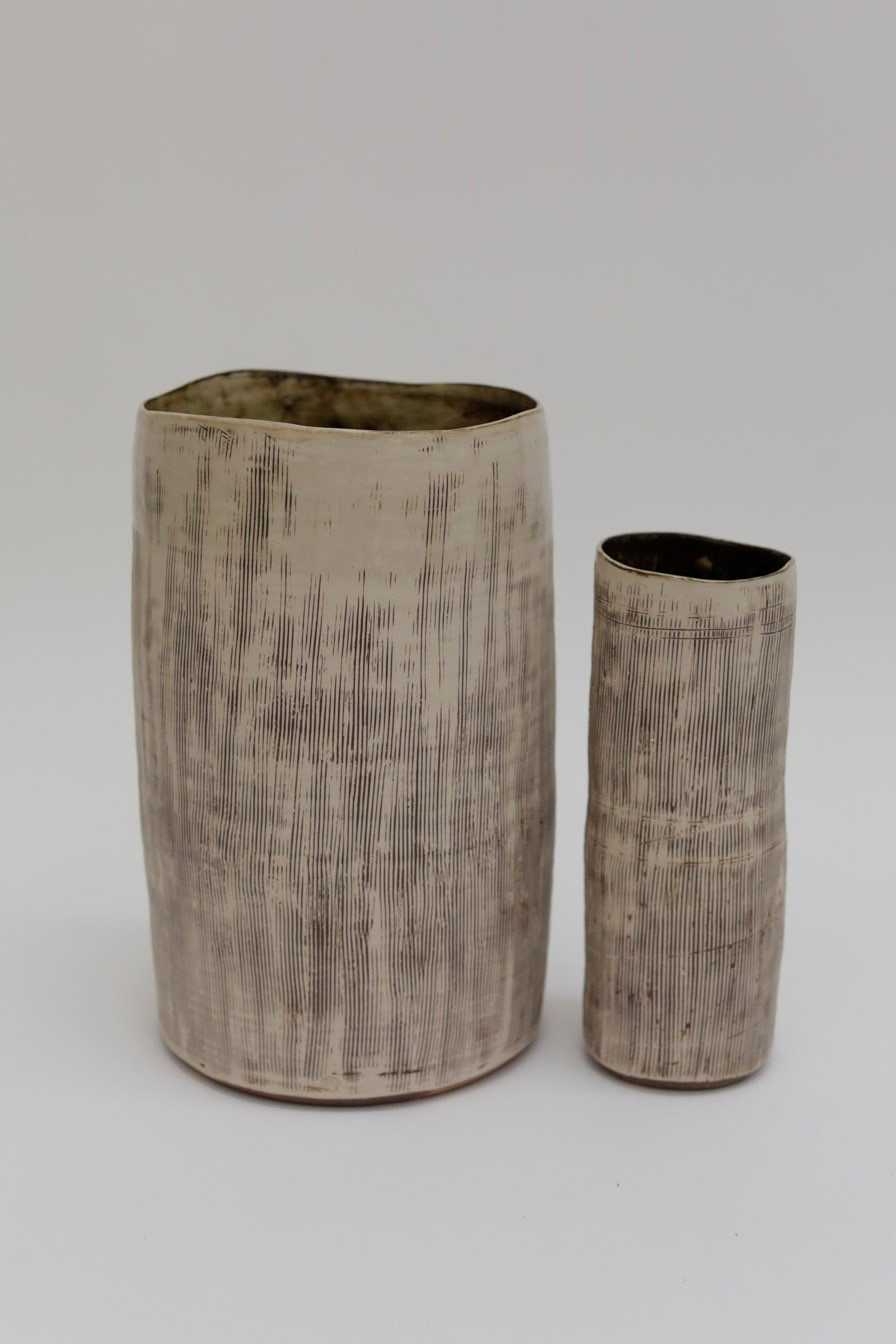 Inlaid Vessels  ceramic  Left: 40 cm height approx  £320  Right: 30 cm height approx  £120