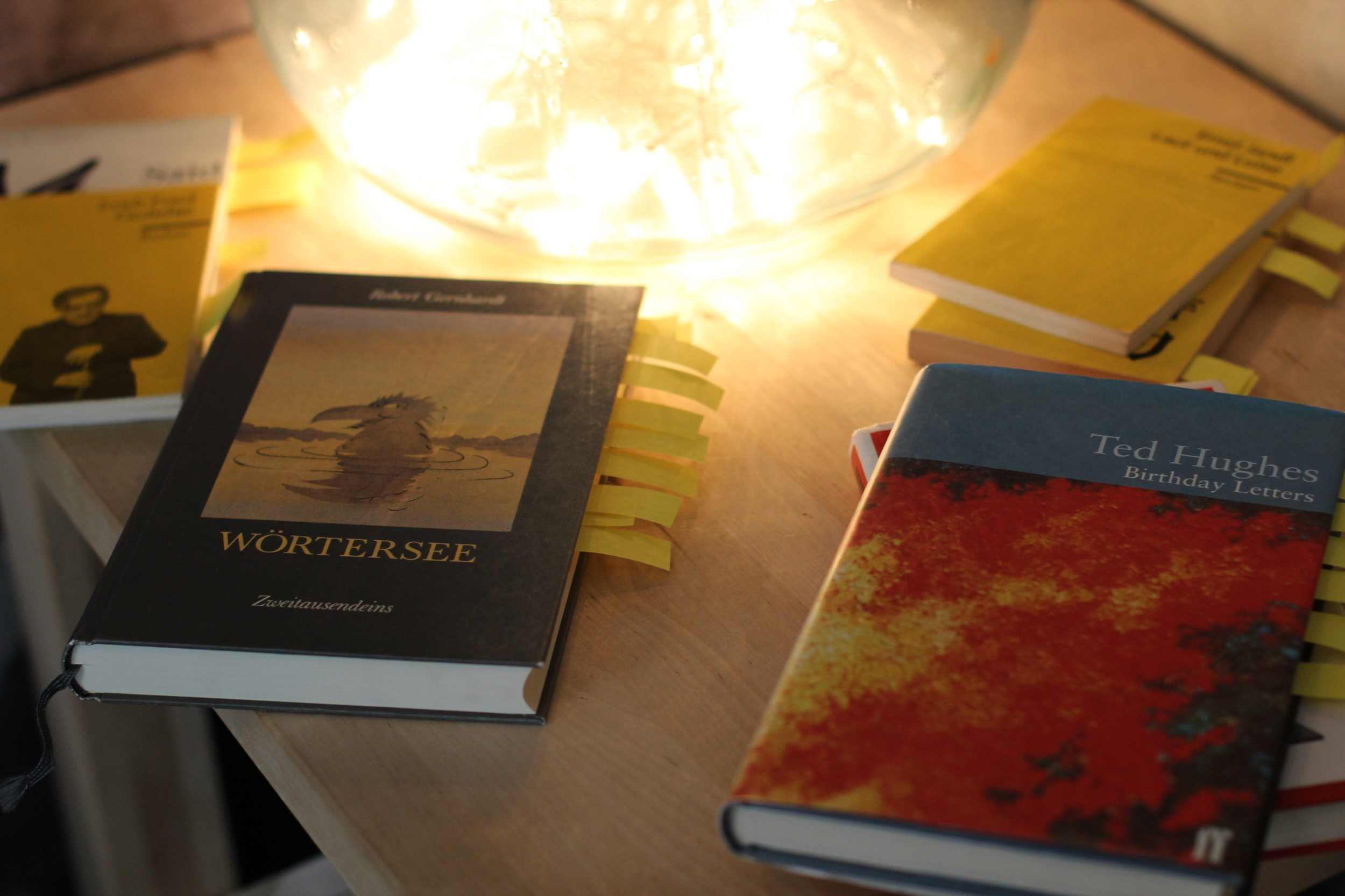 Eine Ecke mit Gedichtbänden, in denen einzelne Gedichte hervorgehoben wurden. Darunter im Regal: Modezeitschriften.