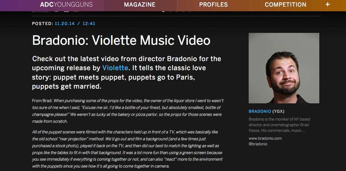 Bradonio: Violette Music Video