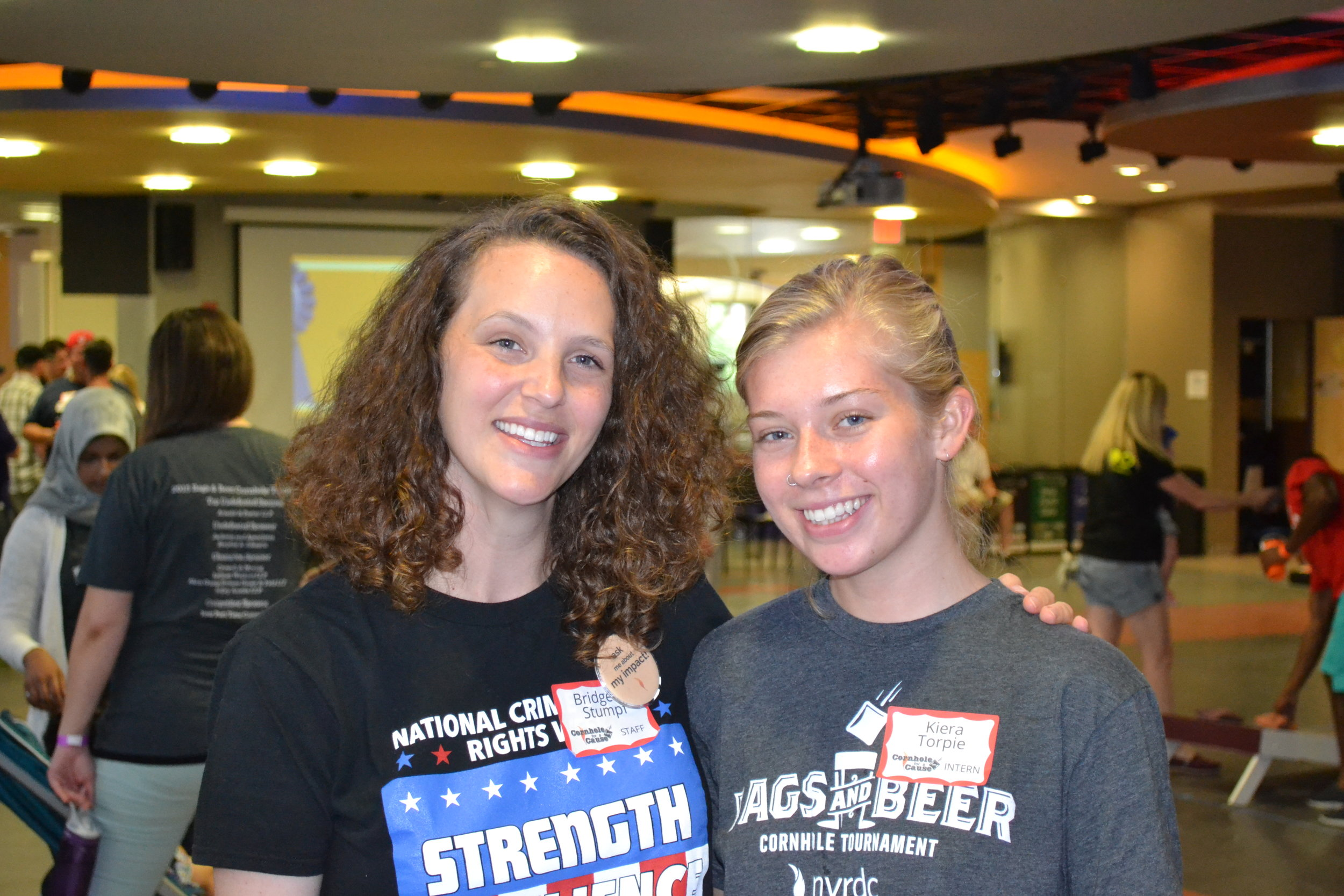 Kiera (right) with NVRDC Co-Executive Director, Bridgette Stumpf, at this year's Cornhole for a Cause event.