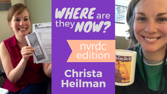 Left: Christa at NVRDC in April 2014; Right: Christa at work in Chicago in March 2018.