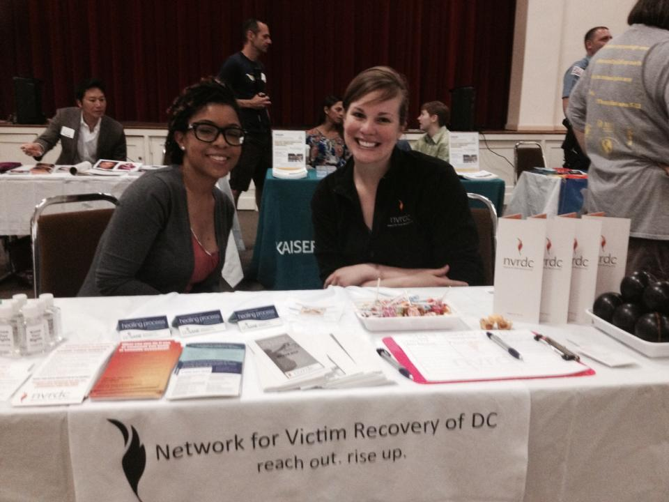 Former NVRDC case manager, Nicole, and Christa doing outreach in 2014.