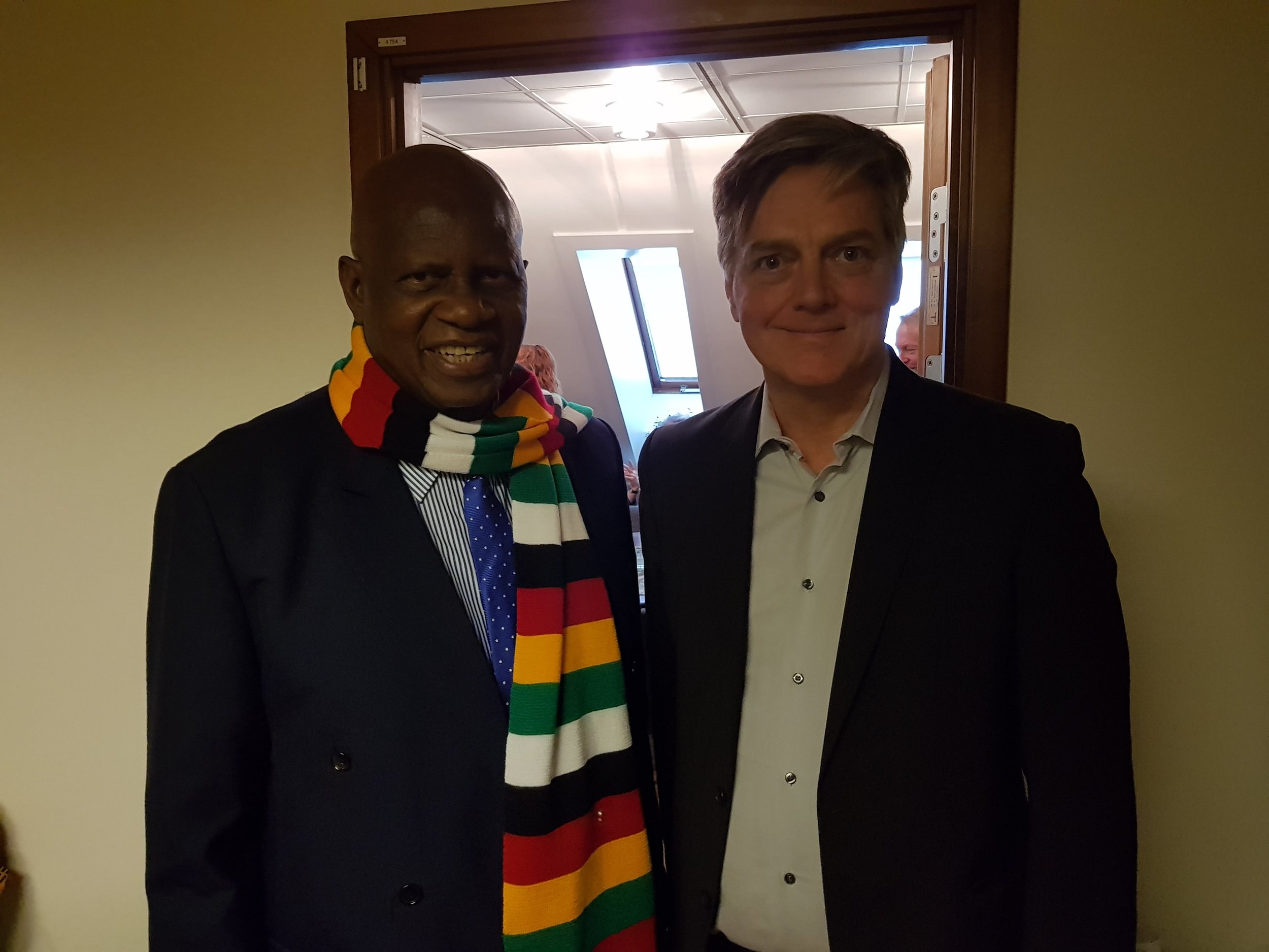 Meeting Honorable Patrick Chinamasa, Minister of Finance and Economic Development of Zimbabwe.  Talking about digitizing the informal sector and digital tax collection. Zimbabwe has a population of 18 million people, most of them in the informal sector.   In 2017, 80% of all money transactions were electronic transactions, while cash just accounted for 20% of transactions. A big challenge, big opportunity!