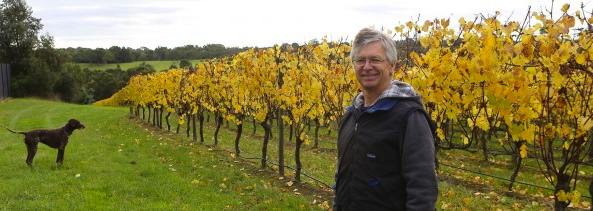 Down  Foxeys Road  in Balnarring North,  Winemaker,  Tod Dexter hangs out with his dog, Stella.