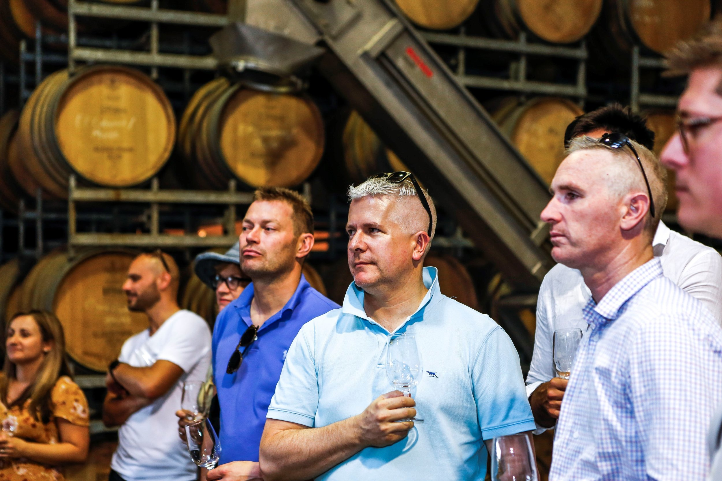 A mornington peninsula wine tour in the barrel room at Willow Creek Vineyard