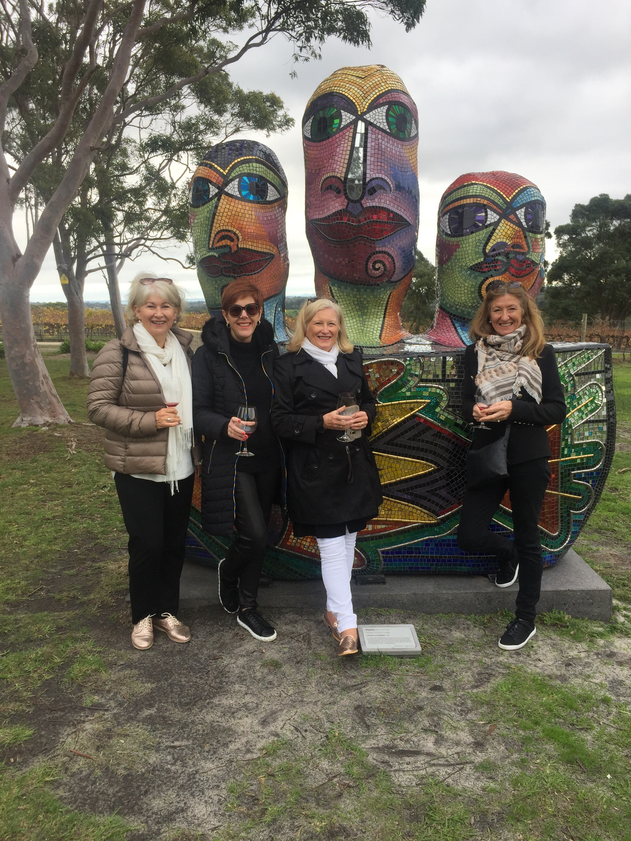 302721189f8bfb Four women on the verge of a nervous Pinot Noir exploring the region's  great art and