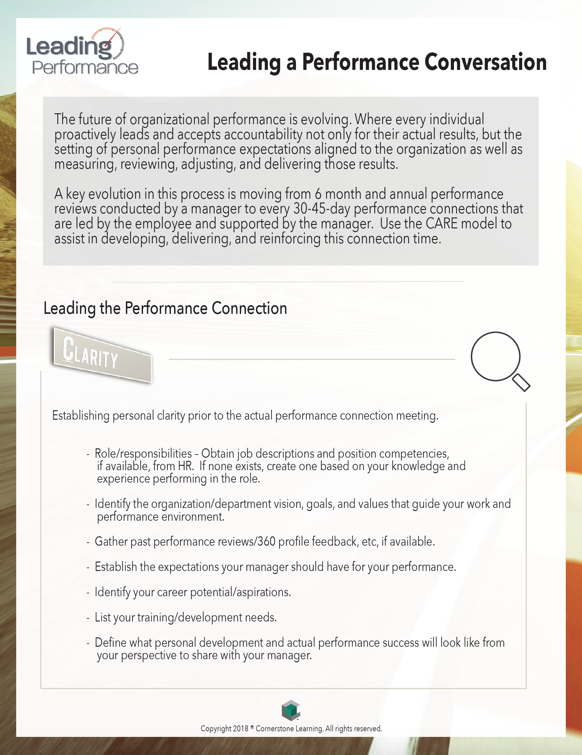 Leading a Performance Connection PDF