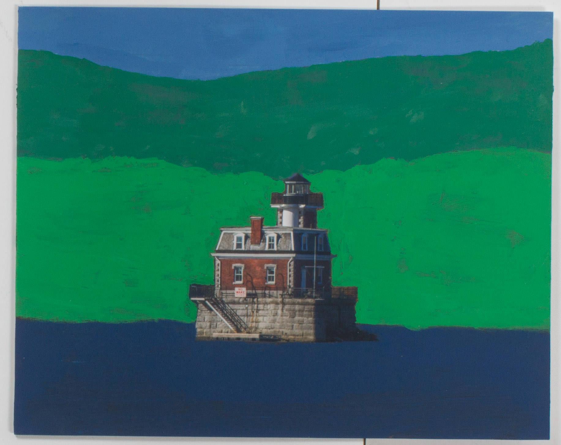 Hudson NY Light House Spring (10x8 framed - Print on board - acrylic)