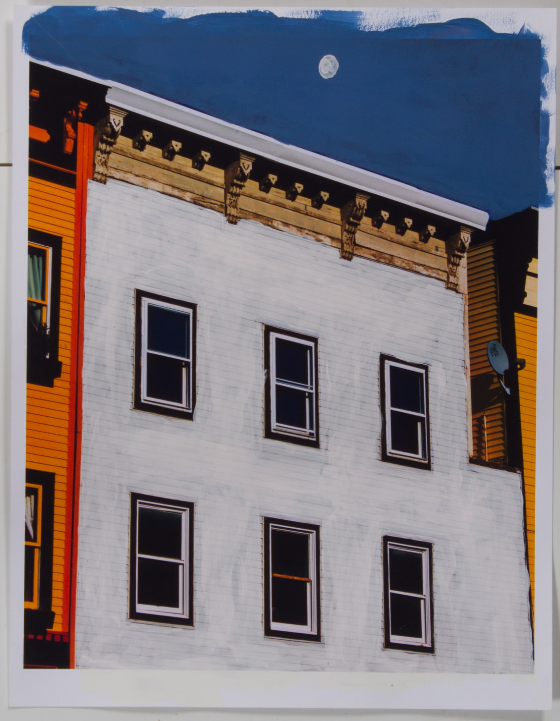 White Building and White Moon (8x10 - matte print - acrylic)