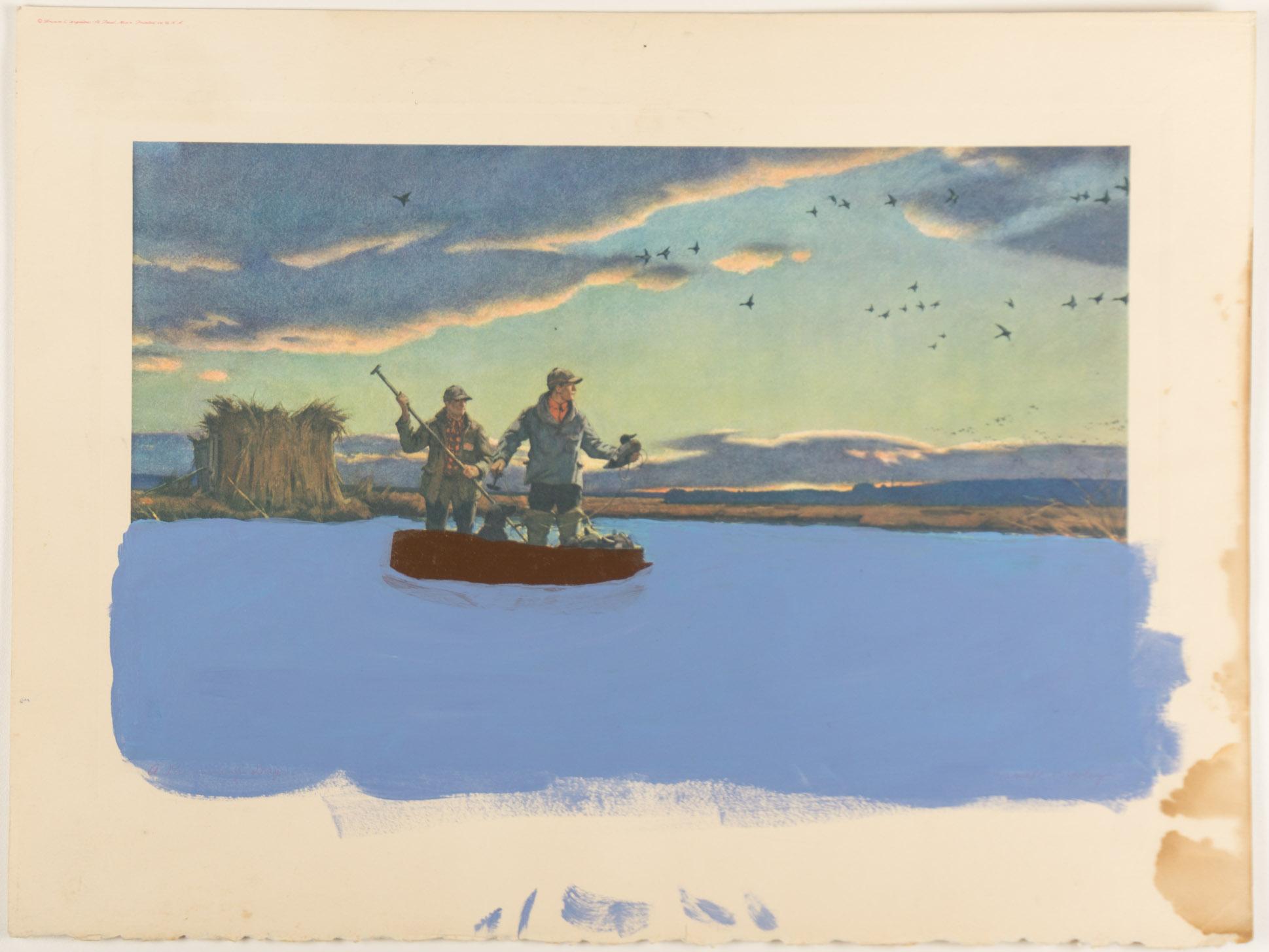 men dog boat   (12x16 - print - acrylic
