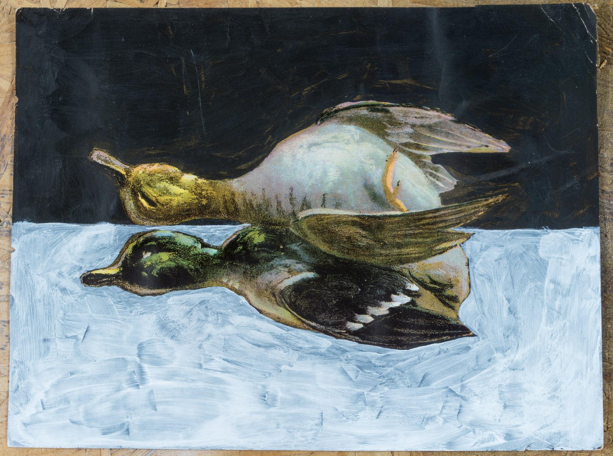 Birds resting   (9x11 - print - gesso