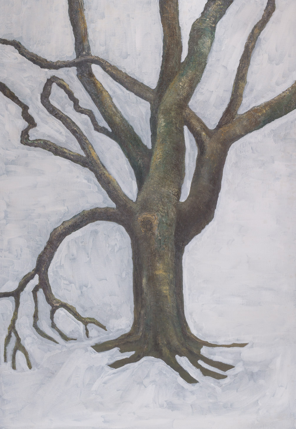 Number 1 Big Tree  (28x39 - painting on canvas - Gesso)