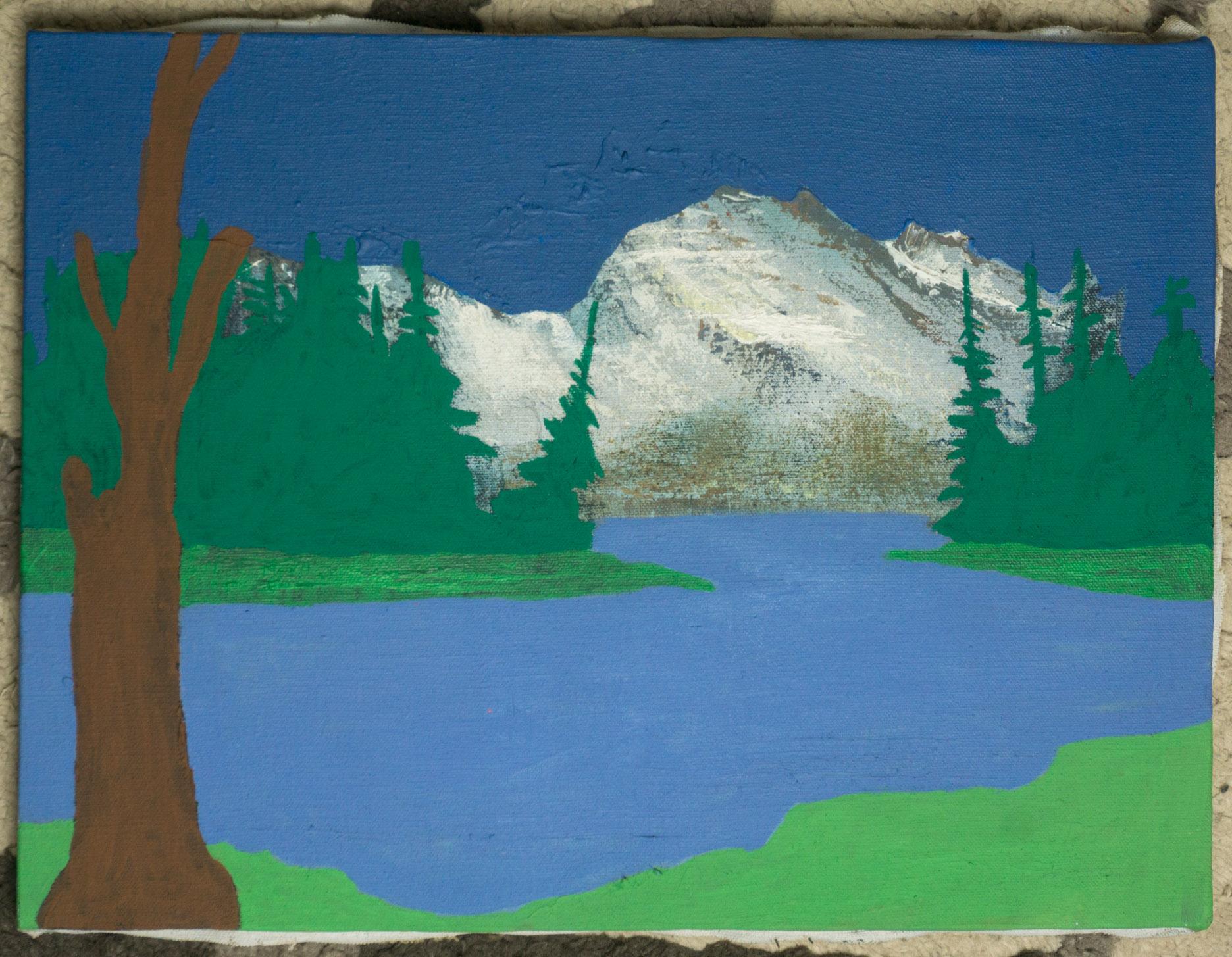 Tree with Mountain   (16x11 - canvas - acrylic