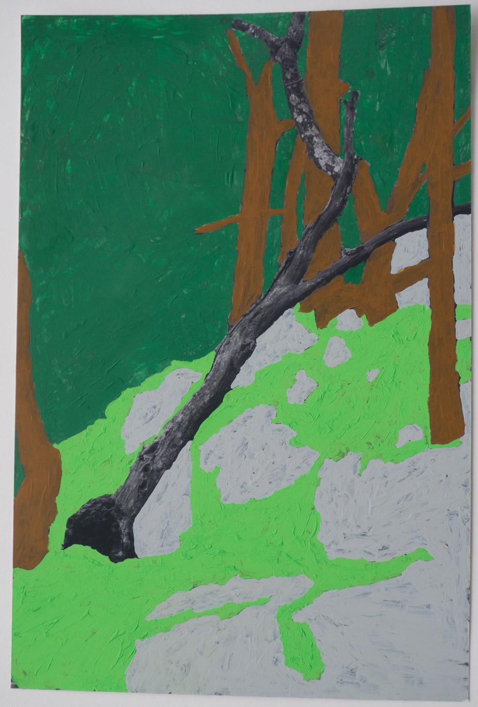BW Fallen tree  (7x12 - print - acrylic