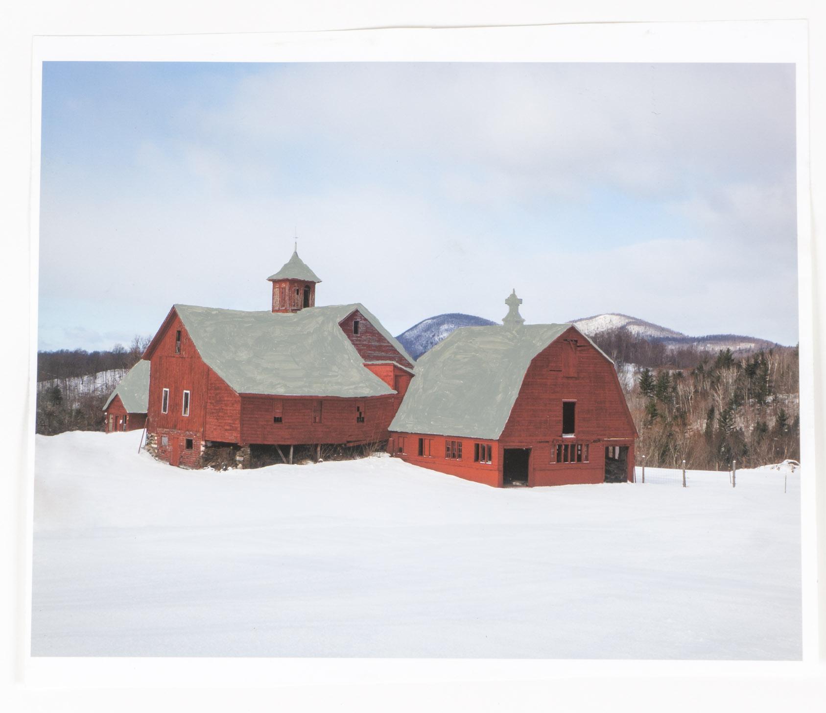 Snow Barns   (12x14 - print - acrylic