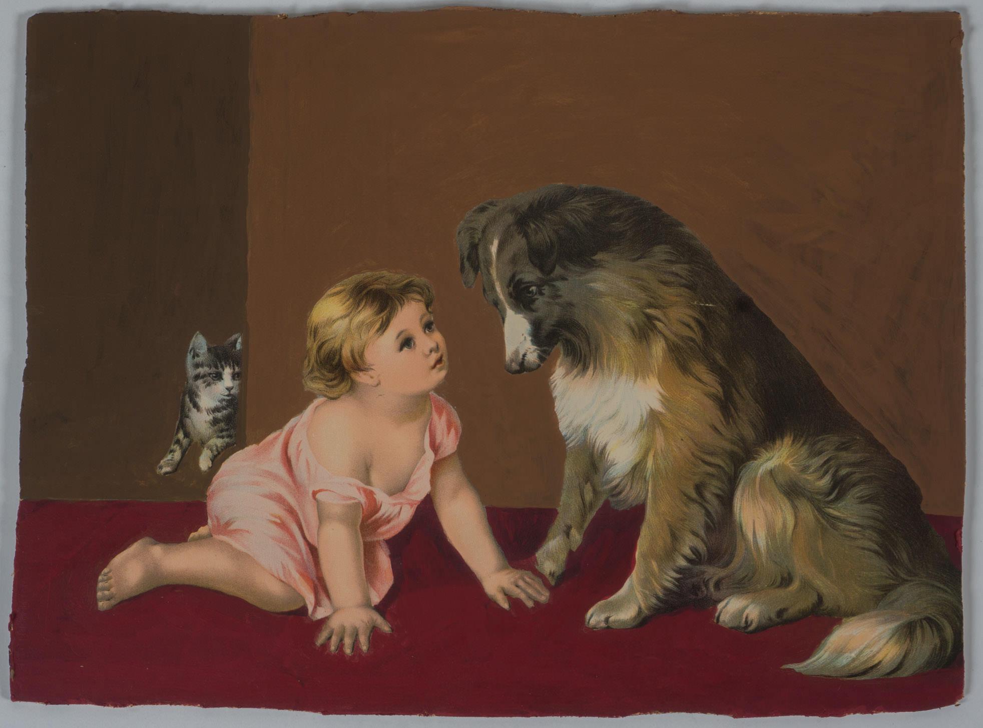cat baby dog   (18x14 framed - board - acrylic