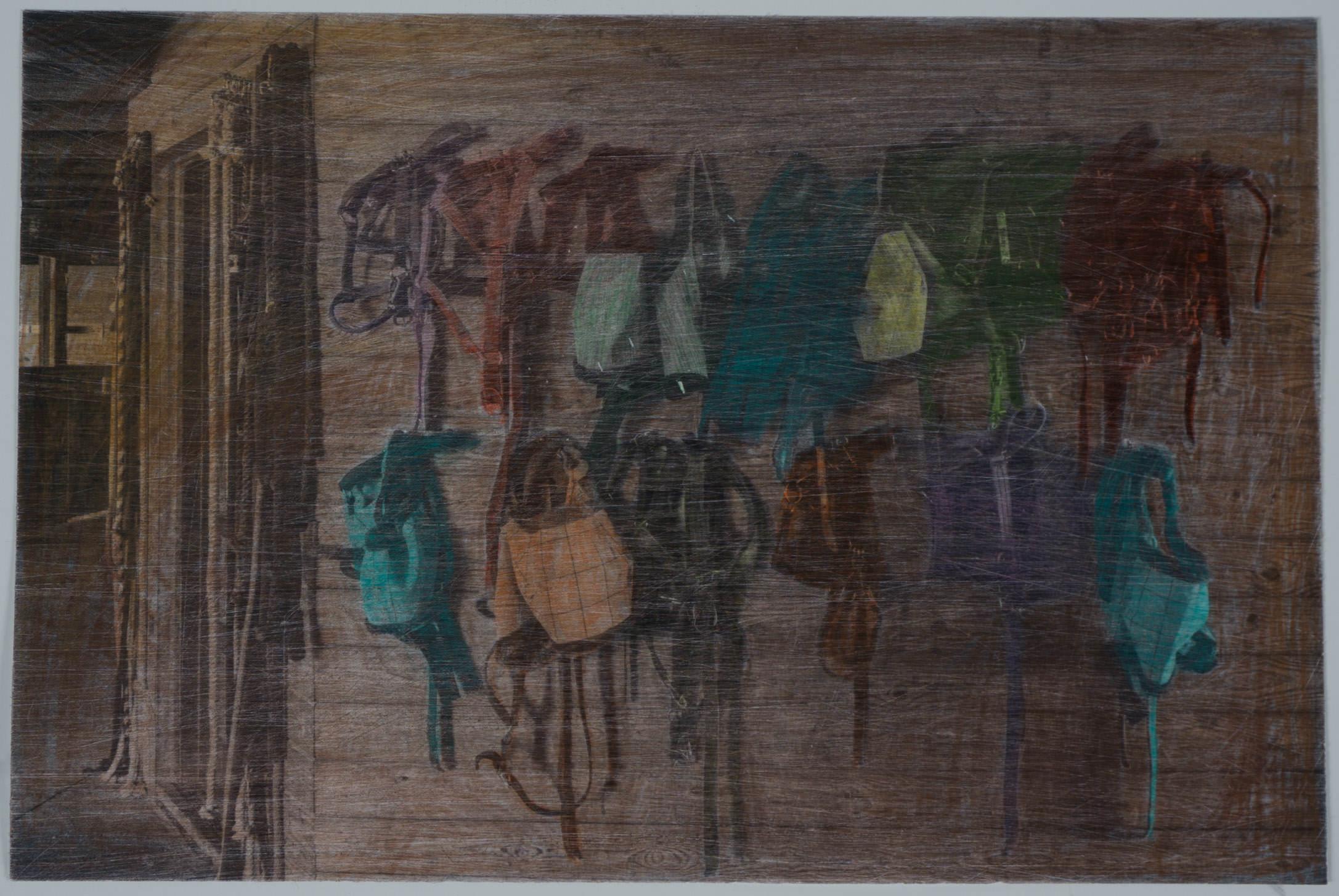 Horse barn2  (8x10 - sanded print - pencil