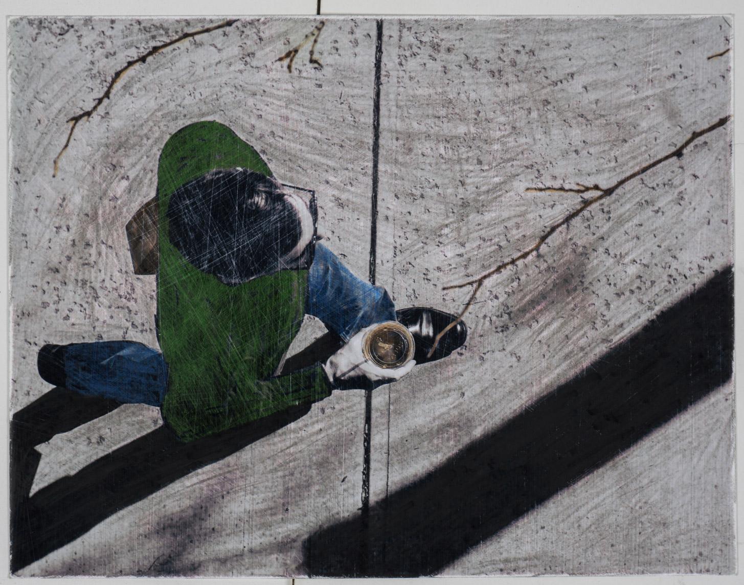 Brids eye man morning   (8x10 - sanded print - pencil