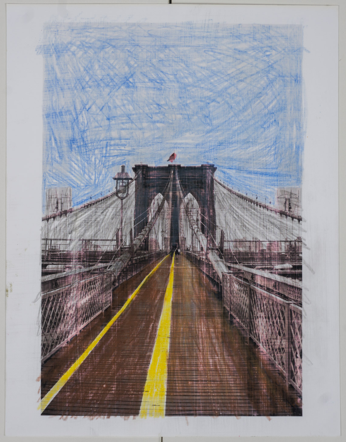 NYC bridge   (8x10 - sanded print - pencil