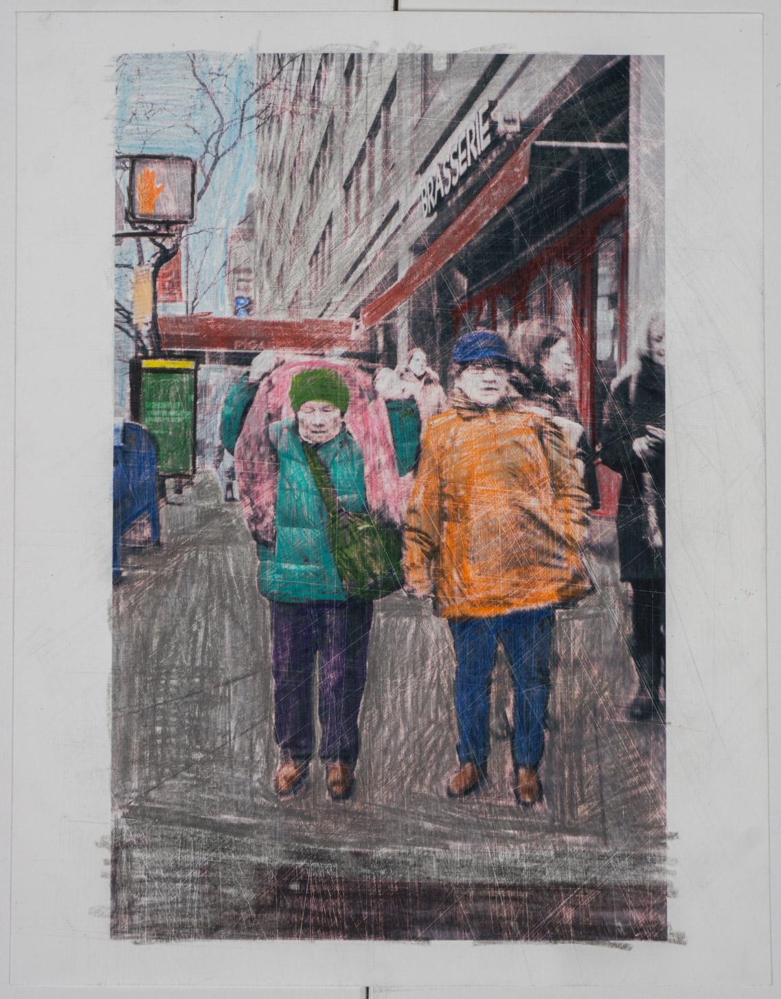 2 nyc Tourist  (8x10 - sanded print - pencil