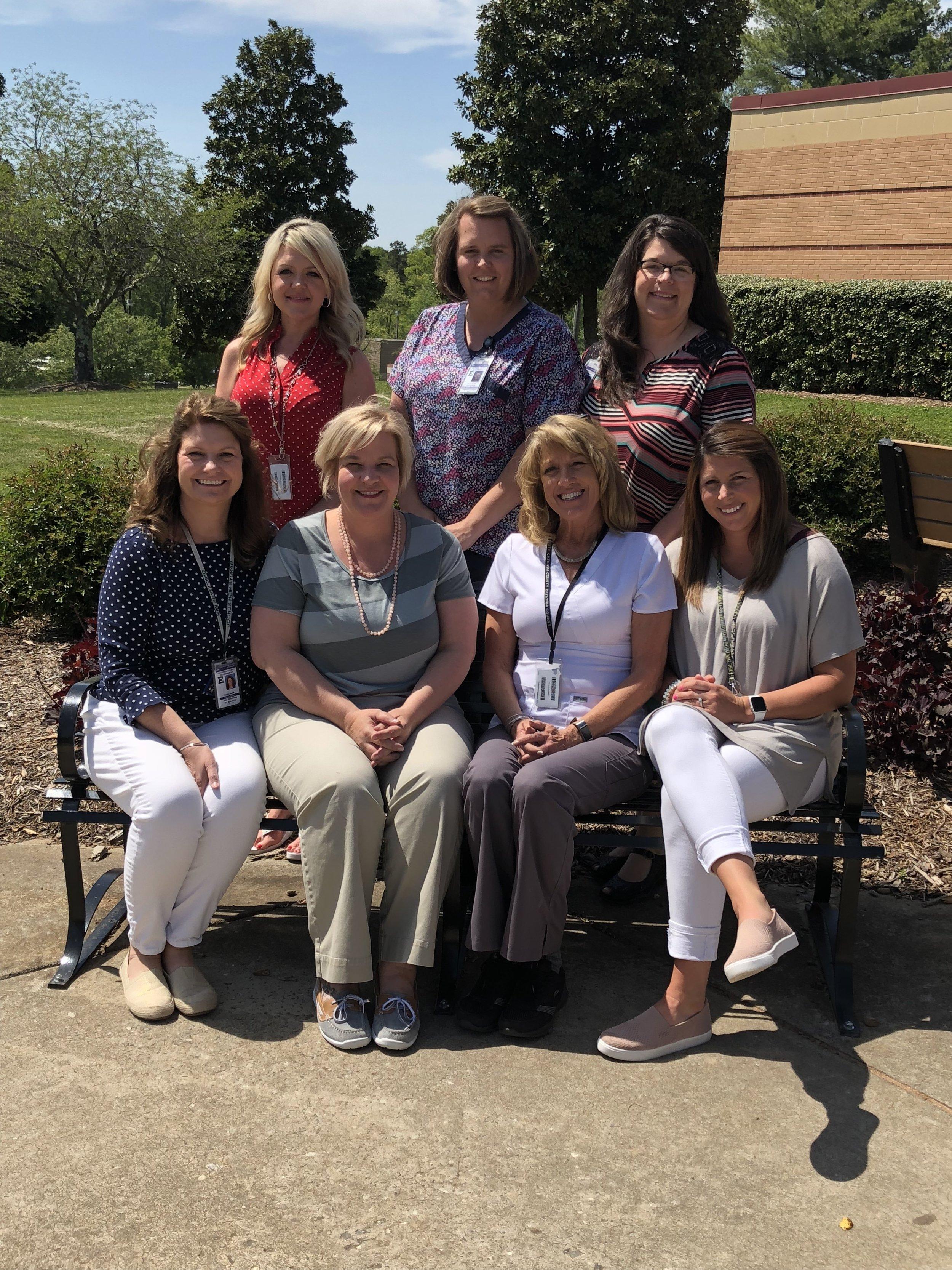 Catawba County Public Health School Nurse Research Team - Back Row L-R : Brandy Forbes, Krystal Morgan, Rachel KnightonFront Row L-R : Kim Spaulding, Melanie Reese, LaDonna Hodge, Holly Bennett