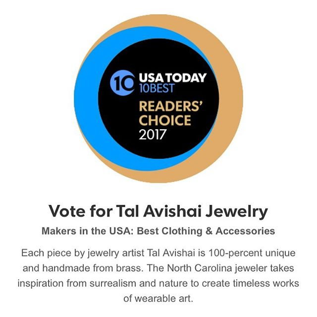 ✨ Please go vote for my jewelry brand for USA Today's list of Best Makers! THANK YOU ✨  http://www.10best.com/awards/travel/makers-in-the-usa-best-clothing-accessories-2017/tal-avishai-jewelry-brass-jewelry/