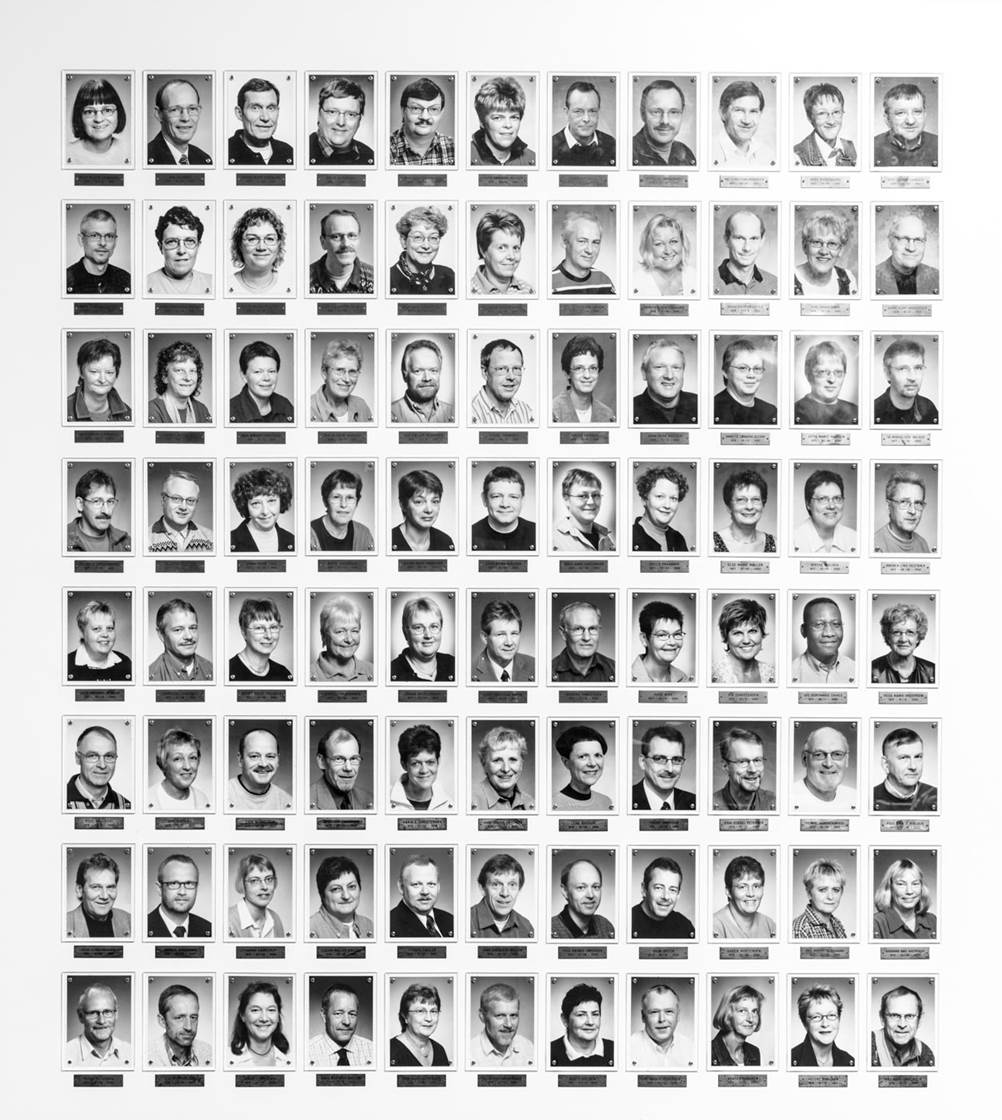The Wall of Fame: employees get their portrait on the wall of the canteen in Factory 4 when they have worked at Bang & Olufsen for at least twenty-five years. The first person on the wall is Peter Bang. At the time of writing, there are 1,231 pictures on the wall.