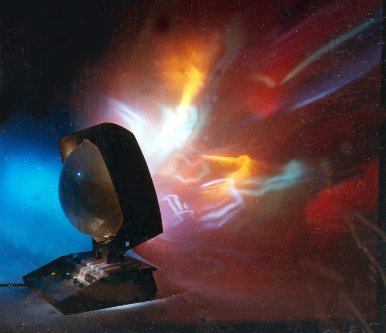 "Promotional picture for the ""Disco"", a mass produced light organ that brought riots of coloured light to Soviet kitchens and living rooms.  Courtesy   Institute   Prometheus"