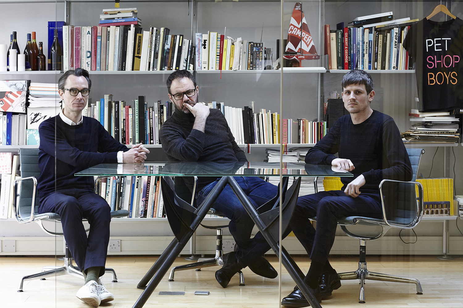 From left: Gary Stillwell, Mark Farrow and Fred Ross of Farrow Design in their studio, Bloomsbury, London, March 2016