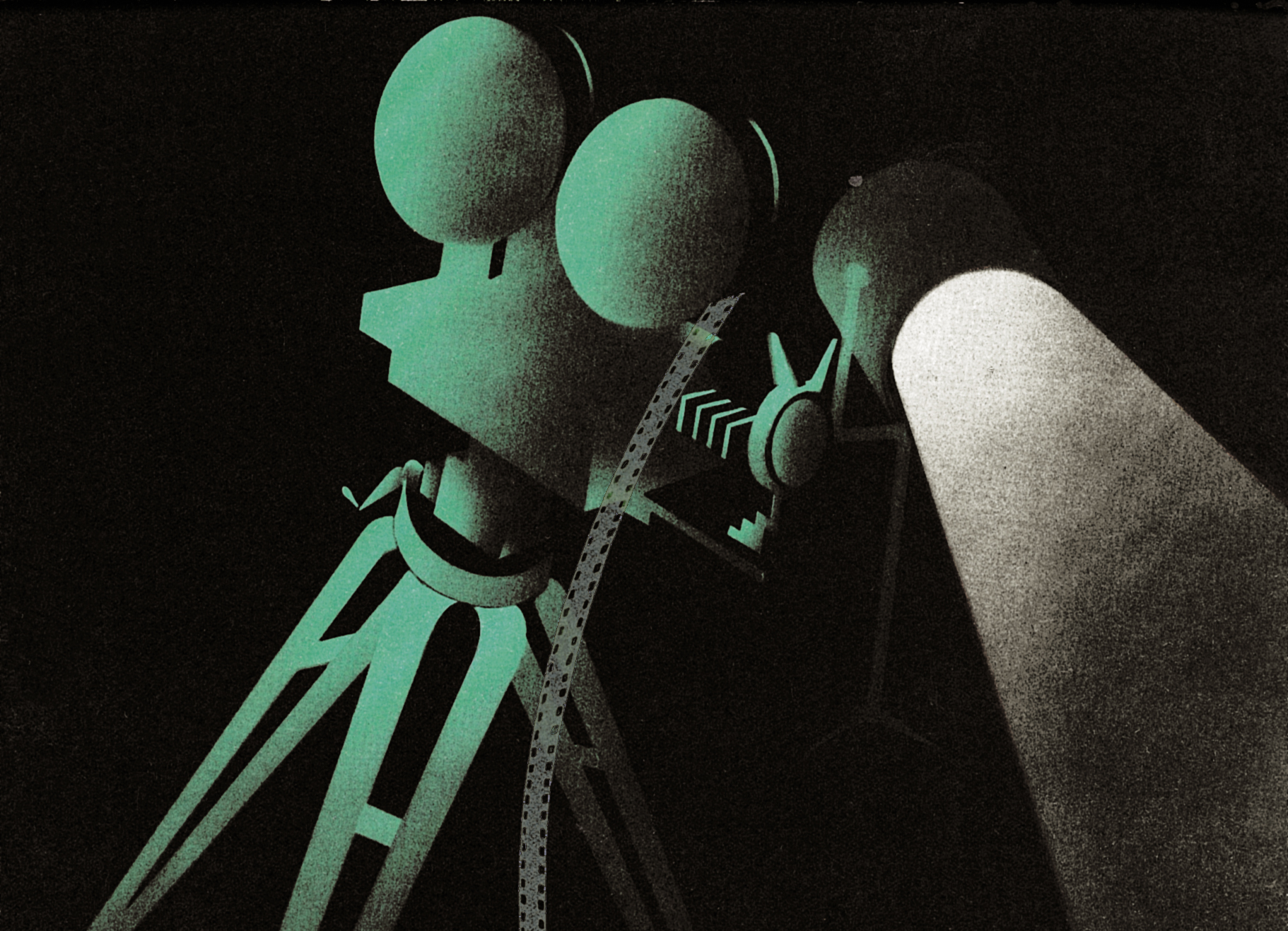 CinemaSystem:a detail of a 1934 brochure illustration for Bang & Olufsen´s sound film system.