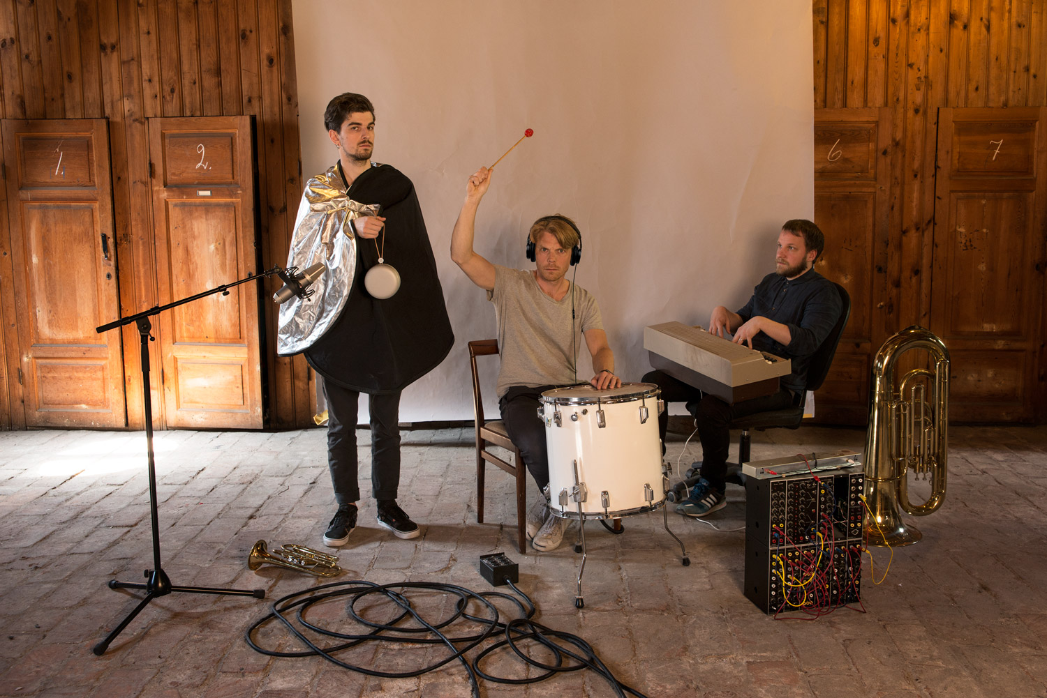 Another day at the office – Members of Plan8 warming up in their Stockholm studio, May 2016. From left: Bali Harko ( Beoplay A1 ), Calle Stenqvist ( H6 ) and Karl­ Johan Råsmark (keys)