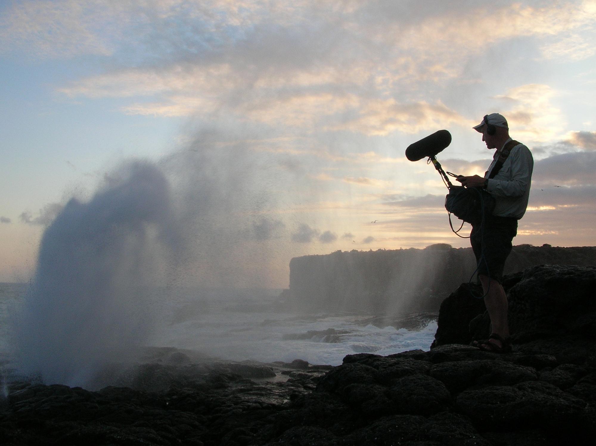 Diamond geyser: Watson on assignment recording the sounds of an erupting geyser.