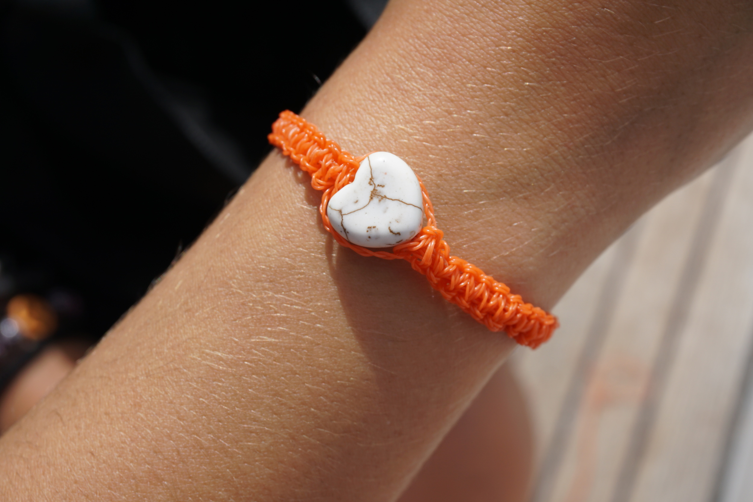 Bracelet made of fish net found on the beach. Reduce - reuse(!!) - recycle :)