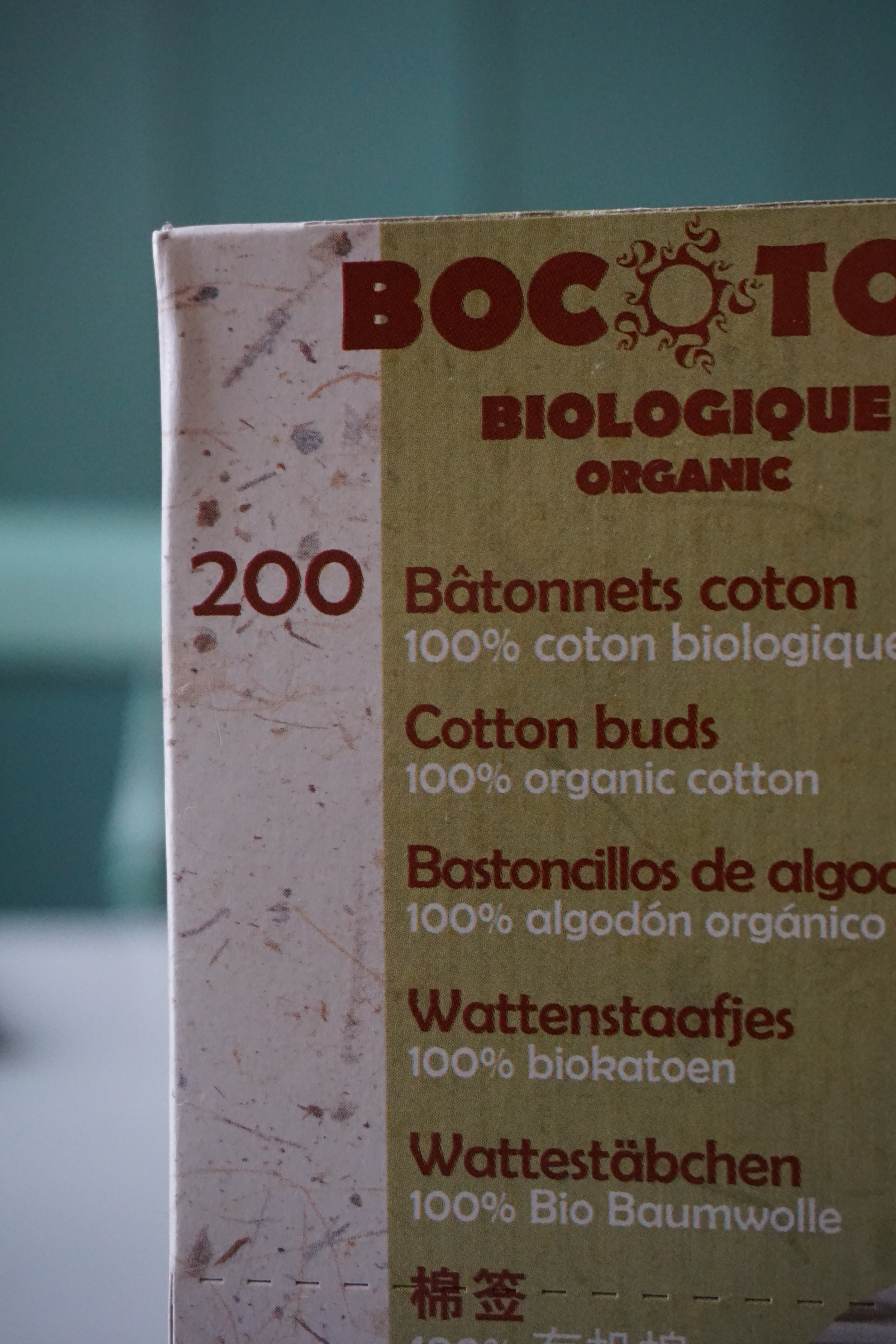 Q-tips av papp og organisk dyrket bomull.